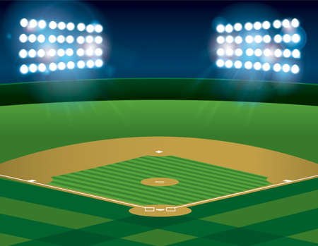 campo de beisbol: Un campo de béisbol o softbol iluminado por la noche. Vecto. archivo contiene transparencias y malla de degradado. Vectores