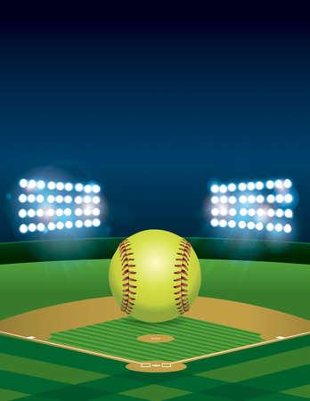 夜ライトアップされたソフトボールの上に座って黄色ソフトボール。垂直方向。コピーのための部屋。 使用可能です。  ファイルでは、透明度、グ
