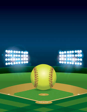 outfield: A yellow softball sitting on an illuminated softball field at night. Vertical orientation. Room for copy.  available.   file contains transparencies and gradient mesh. Illustration