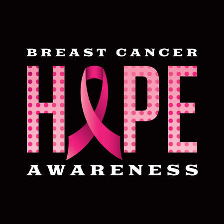 An illustration of a Breast Cancer Awareness Hope message written in pink polka dots and a pink cancer awareness ribbon.   Illustration