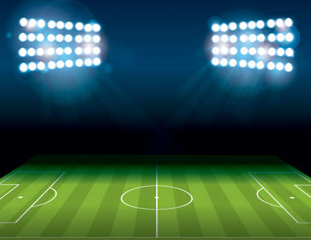 A football American Soccer field lit at night.  file contains transparencies and gradient mesh.