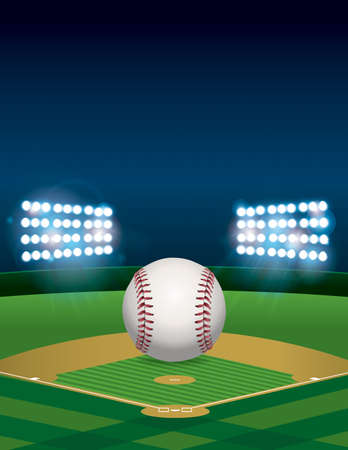 outfield: A baseball sitting on a lit baseball stadium field at night. Vertical orientation. Room for copy.   Illustration