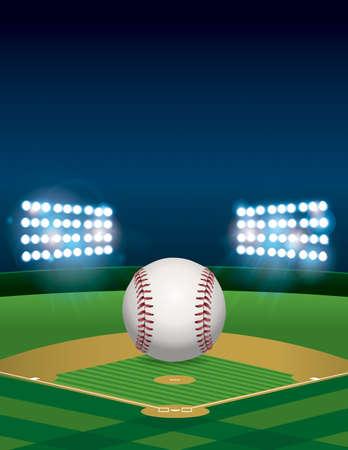 A baseball sitting on a lit baseball stadium field at night. Vertical orientation. Room for copy.   Illustration