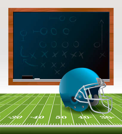 An illustration of an American Football helmet sitting on a football field with a chalkboard drawn with plays.