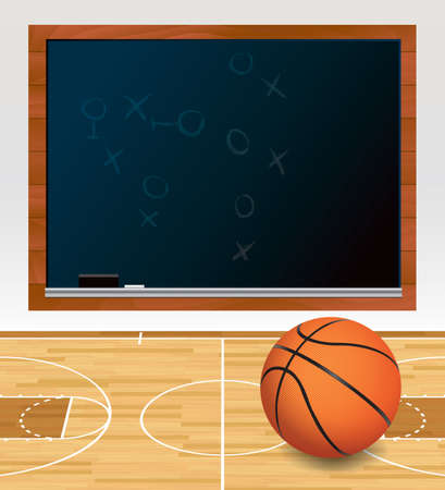 An illustration of a basketball on a hardwood court with plays written on a black chalkboard.