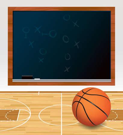 sistema operativo: Una ilustraci�n de una pelota de baloncesto en una cancha de madera dura con obras escritas en un pizarr�n negro. Vectores