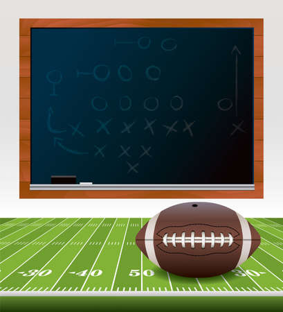 scrimmage: An illustration of an American football ball laying on a turf football field. Chalkboard with playbook drawn on it.