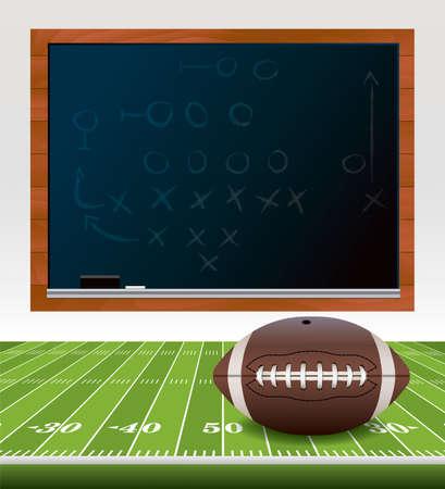 campo di calcio: Un esempio di una palla di football americano, che su un campo di calcio in erba. Lavagna con playbook disegnato su di esso. Vettoriali
