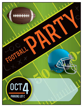football party: An illustration for an American Football party. Room for copy.