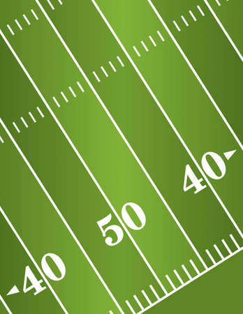 An illustration of a diagonal American Football field yard markers.   Stock Illustratie