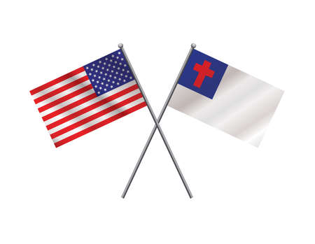 An illustration of crossed American flag and Christian faith flag on metal flagpoles. Vector EPS 10 available.
