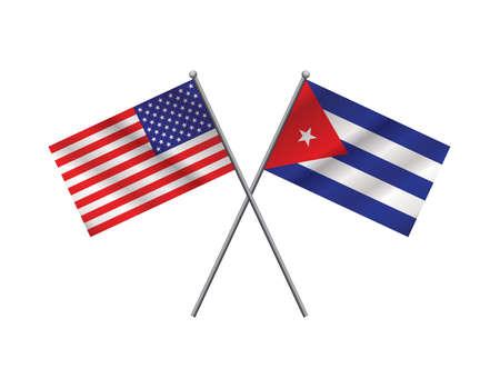 dictature: Un drapeau am�ricain et le drapeau cubain sur les m�ts de drapeau � travers l'autre. Vector EPS 10 disponibles. Illustration