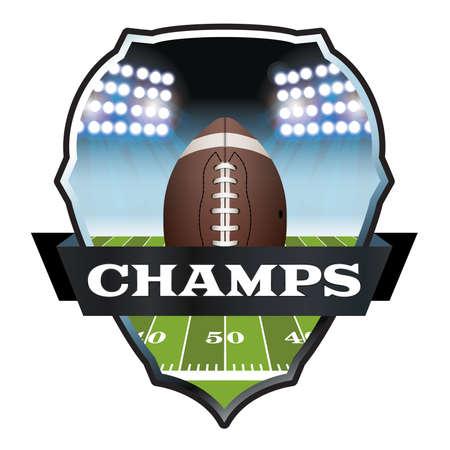 An illustration of an American football field and ball inside a badge. Stok Fotoğraf - 43060172