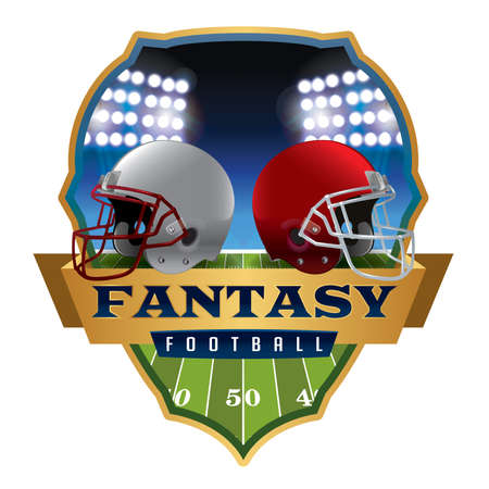 An illustration of an American fantasy football helmets and badge.