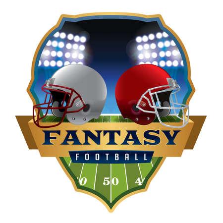 Eine Abbildung eines amerikanischen Fantasy-Football-Helme und Abzeichen.