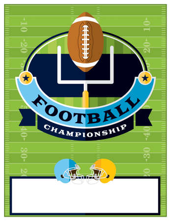 football party: A flat design American Football championship flyer, invitation, or poster. Room for copy.