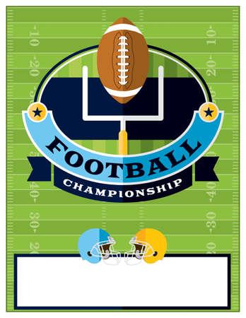terrain football: Un design plat championnat de football américain dépliant, invitation ou une affiche. Salle pour la copie.