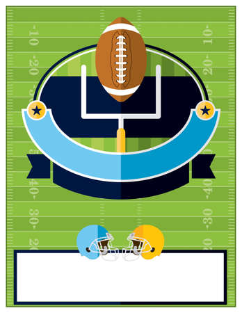 american football ball: A flat design American Football flyer, invitation, or poster. Room for copy. Vector EPS 10 available.