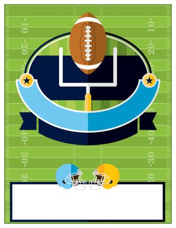 terrain de foot: Un design plat Football américain dépliant, invitation ou une affiche. Salle pour la copie. Vector EPS 10 disponibles.