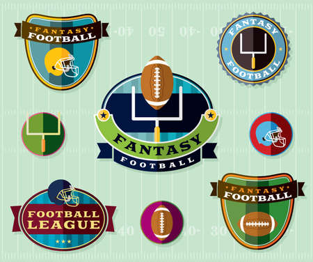 american football helmet: A set of American Fantasy Football emblems and badges illustration.