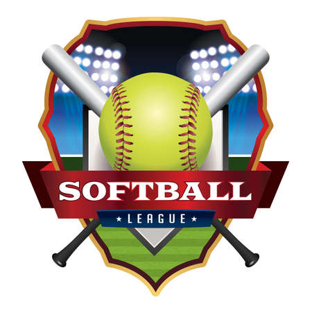 softball: An illustration for a softball league emblem and badge.