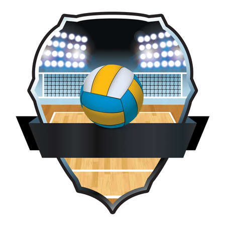 An illustration of a volleyball, court, and net badge and emblem. Ilustrace