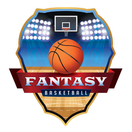 An illustration for a fantasy basketball, court, and hoop emblem.
