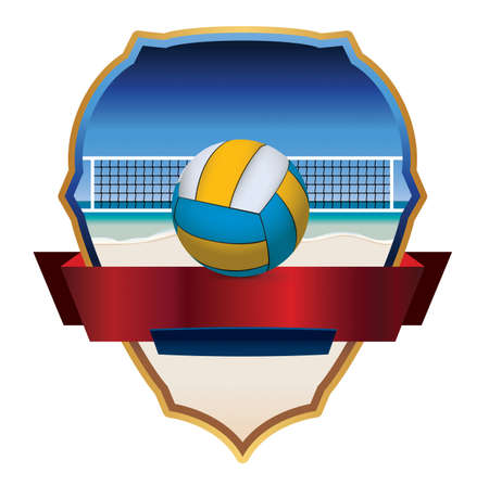 An illustration emblem and badge for beach volleyball. Ilustrace