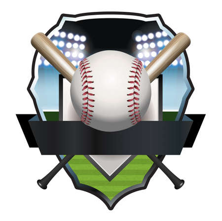 An illustration of a baseball, bat, and field badge template.