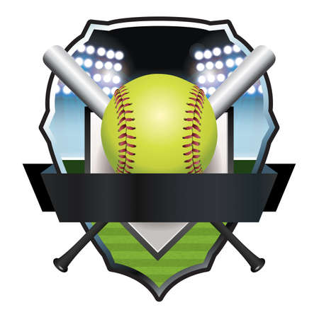 An illustration of a softball and bats emblem and badge.