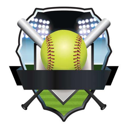homerun: An illustration of a softball and bats emblem and badge.