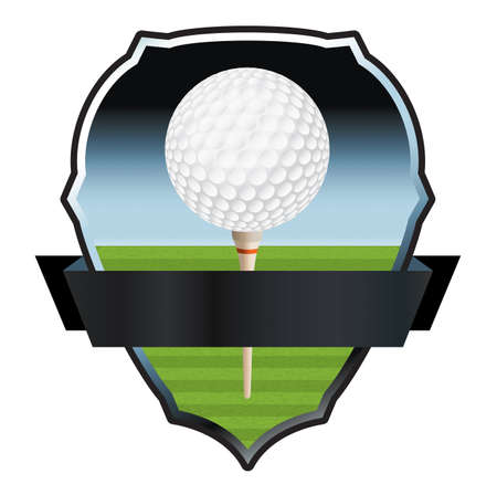driving range: An illustration for a golf emblem and badge.  Illustration