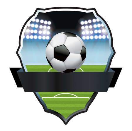 An illustration for a soccer football ball and field emblem badge.