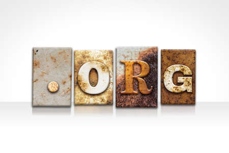 org: The word DOT ORG written in rusty metal letterpress type isolated on a white background. Stock Photo
