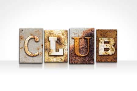 strip club: The word CLUB written in rusty metal letterpress type isolated on a white background. Stock Photo