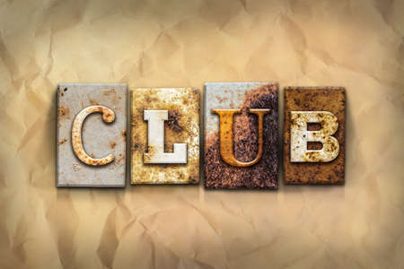 strip club: The word CLUB written in rusty metal letterpress type on a crumbled aged paper background. Stock Photo