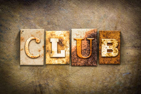clique: The word CLUB written in rusty metal letterpress type on an old aged leather background. Stock Photo