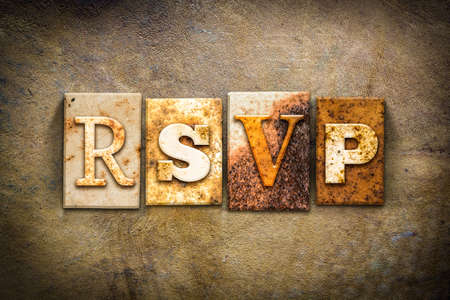 rsvp: The word RSVP written in rusty metal letterpress type on an old aged leather background.