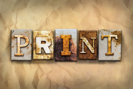 printmaking: The word PRINT written in rusty metal letterpress type on a crumbled aged paper background. Stock Photo
