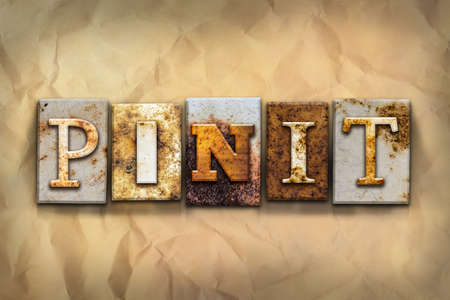 paper pin: The word PIN IT written in rusty metal letterpress type on a crumbled aged paper background.