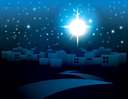 キリストのクリスマスの星に照らされた暗いベツレヘムのイラスト。ベクター EPS 10 利用できます。EPS には、透明度が含まれています。  イラスト・ベクター素材