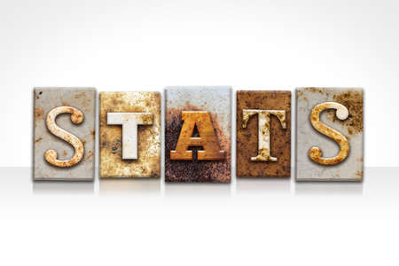 The word STATS written in rusty metal letterpress type isolated on a white background. Stock Photo