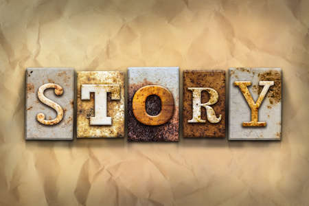 anecdote: The word STORY written in rusty metal letterpress type on a crumbled aged paper background.