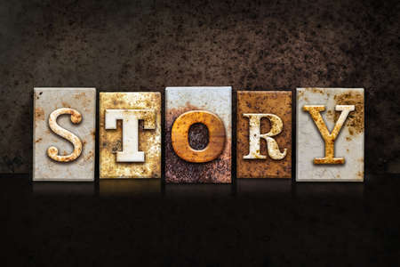 anecdote: The word STORY written in rusty metal letterpress type on a dark textured grunge background.