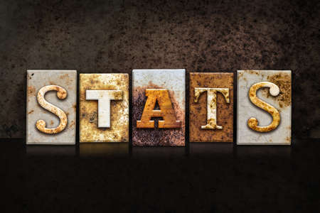 demografia: The word STATS written in rusty metal letterpress type on a dark textured grunge background.