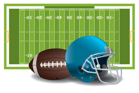 american football: A realistic textured American football field, ball, and helmet isolated on a white background illustration. Vector EPS 10 available. EPS file contains transparencies and gradient mesh.
