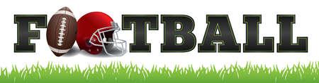 A palavra FUTEBOL escrito em letras, uma bola de futebol e capacete ilustra