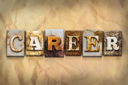 crumbled: The word CAREER written in rusty metal letterpress type on a crumbled aged paper background. Stock Photo