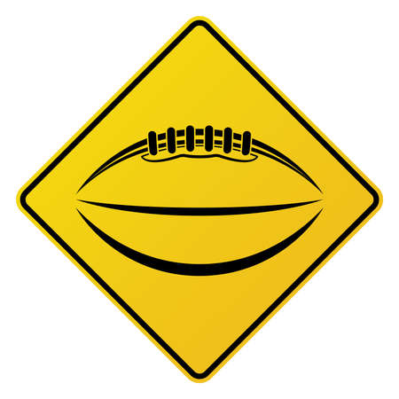 ball isolated: An illustration of a yellow road sign with an American football icon on it. Vector EPS 10 available.