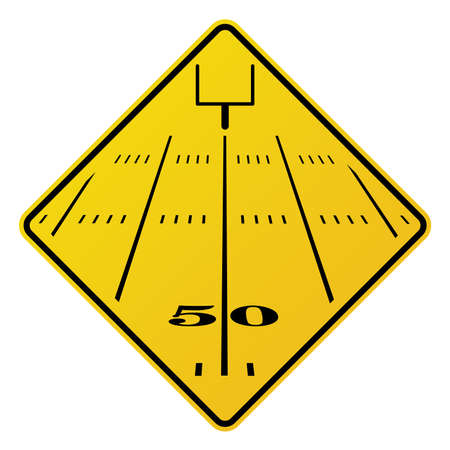 An yellow road sign containing an American football field and field goal.  Illustration